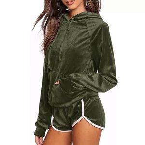 Green Velvet Tracksuit Shorts & Hoodie Set